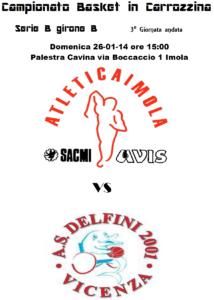 Volantino della partita di basket in carrozzina Atletica Imola Sacmi AVIS - Delfini 2001 Vicenza