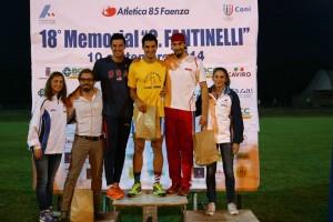 Il podio dei 100 piani (foto Atletica 85 Faenza)