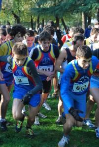 La partenza della gara junior, promesse, senior con Matteo, Luca, Francesco e Vadym