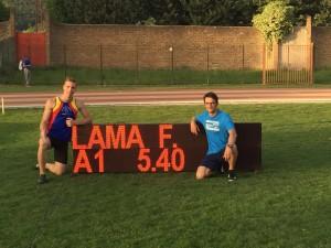 Francesco Lama con il suo tecnico Matteo Rubbiani