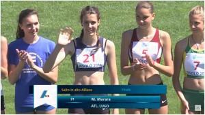 Marta alla presentazione delle atlete prima della gara