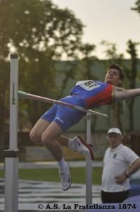 Luca Pieri nella prova di salto in alto (foto Marastoni)