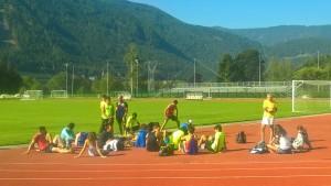 Il gruppo degli atleti al ritiro di Cles nell'impianto di Riscone (BZ)