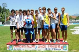 La staffetta 4x400 dell' Atletica Imola Sacmi AVIS campione italiana Junior